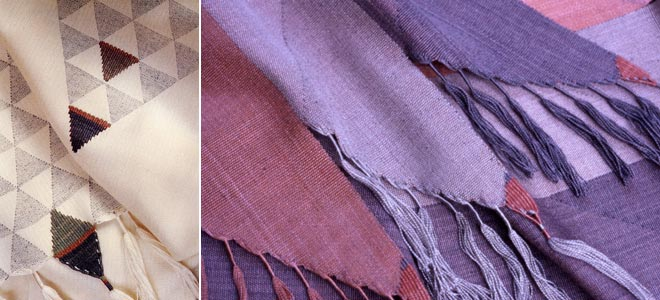 Details of handwoven silk scarves
